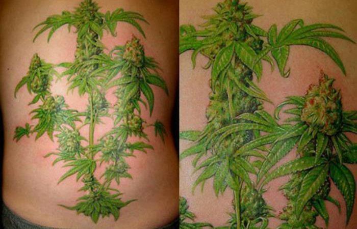 Weed tattoo of bud