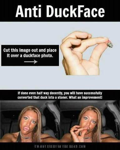 anti-duck face marijuana joint
