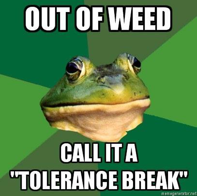 tolerance break weed Foul Bachelor Frog