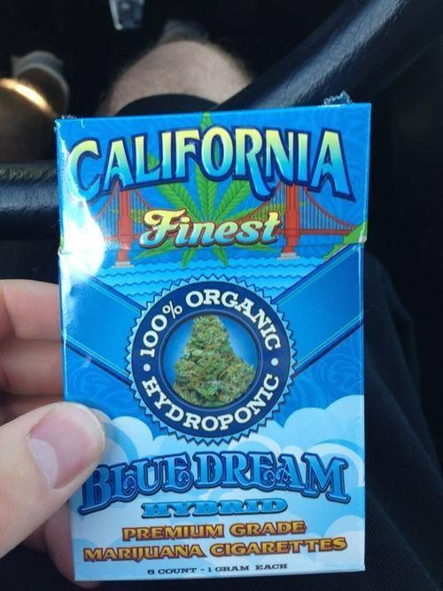 Pre-packaged blue dream cannabis cigarettes