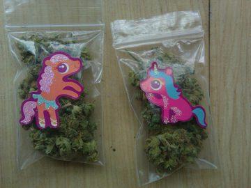 bags of marijuana unicorn stickers