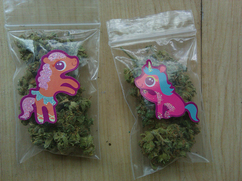 bags of marijuana unicorn stickers