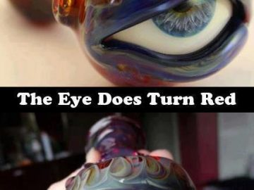 color changing red eye glass pipe