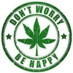 Don't worry, be happy cannabis logo