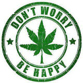 Don't worry, be happy cannabis logo