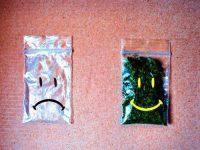 smiling bag full of weed
