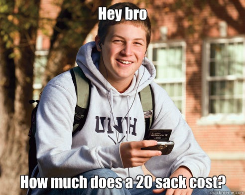 Hey bro, how much does a 20 sack cost?
