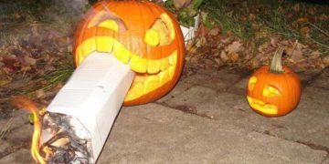 weed smoking halloween pumpkin
