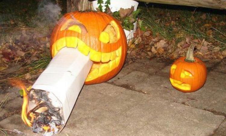 Weed Themed Halloween Pumpkins