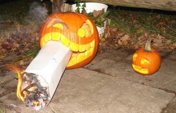 weed smoking halloween pumpkin