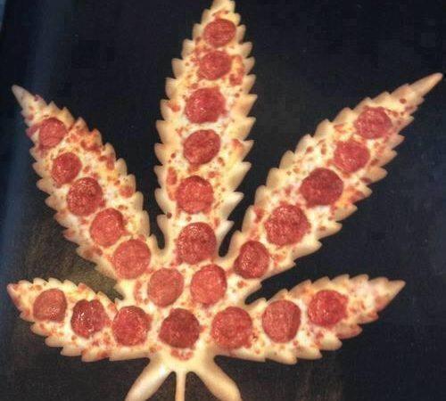 Pizza shaped like weed