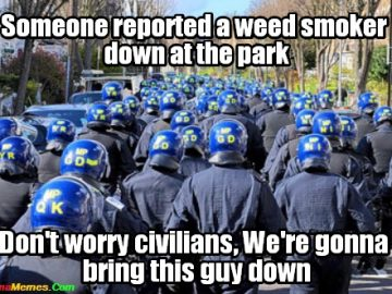 smoking weed in park police