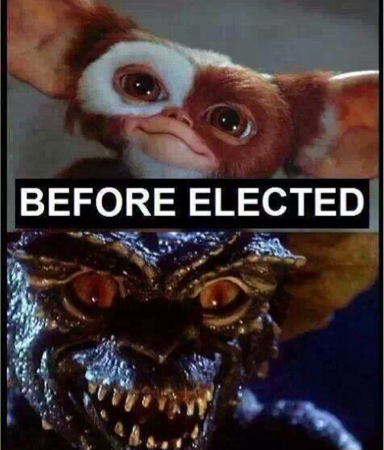 Politicians before and after being elected