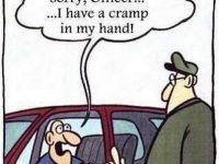 hand cramp flipping the bird to police