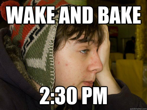 afternoon wake and bake stoner meme