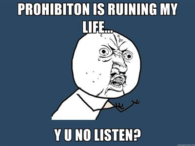 Prohibition's Ruining My Life, Y U No Listen